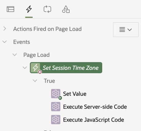 Create Page 0 Dynamic Action: Set Session Time Zone