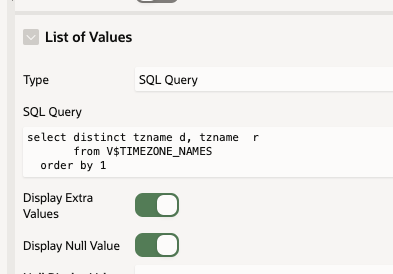 Set the List of Values to be a SQL Query